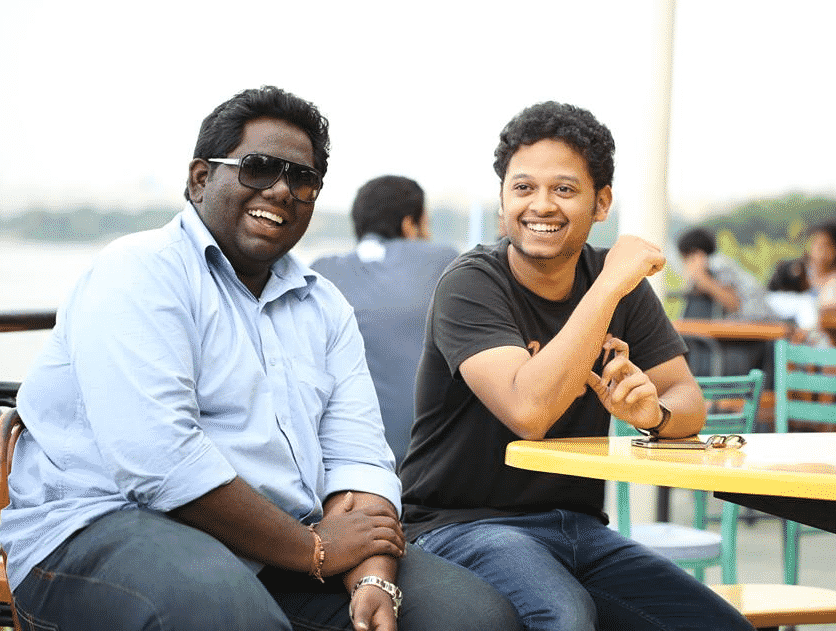 Harsha Chemmudu (left) with the maker of VIVA 'Sabarish Kandrulega'